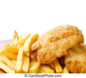 pez, blanco, pedacitos, aislado, frito