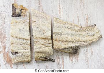 pez, blanco, salado, plano de fondo, bacalao