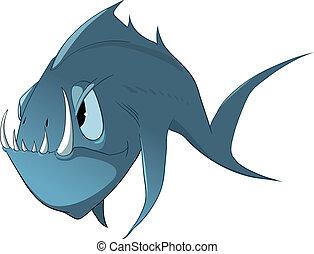 pez, carácter, caricatura