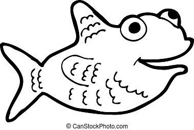 pez, caricatura, feliz