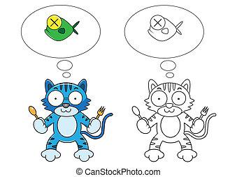 pez, caricatura, gato
