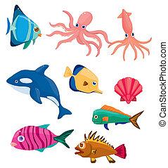 pez, caricatura, icono