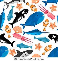 pez, caricatura, seamless, patrón, papel pintado