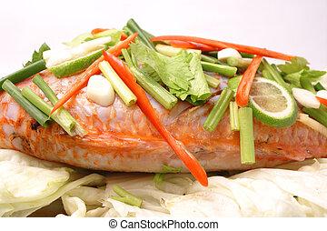 pez, cocido al vapor