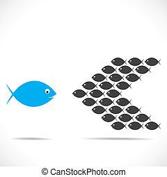 pez, concepto, mudanza, contrario