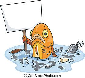 pez, contaminado, agua, tabla, blanco, triste