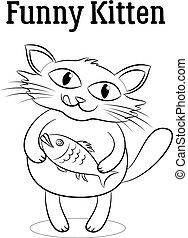 pez, contornos, gato