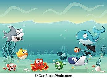 pez, debajo, caricatura, sea.