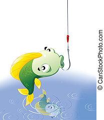 pez, en el gancho