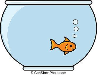 pez, en, un, tazón