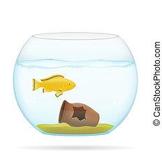 pez, en, un, transparente, acuario, ilustración