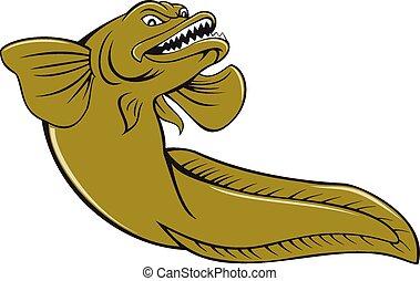 pez, enojado, caricatura, eelpout
