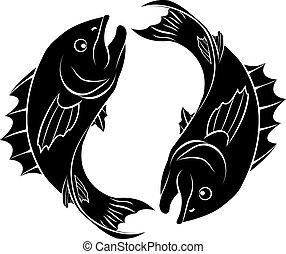 pez, estilizado, ilustración
