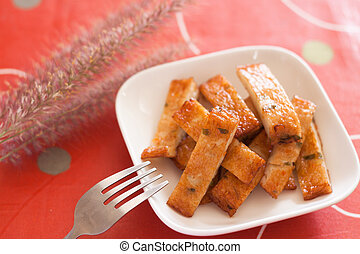 pez frito, pasteles, blanco, placa