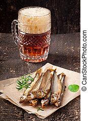 pez, fumados, cerveza
