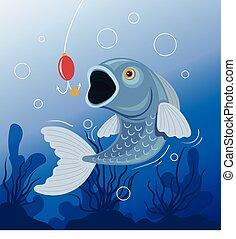 pez, golondrinas, bait., pesca, concept., vector, plano, caricatura, ilustración