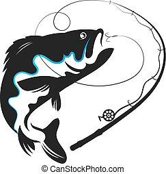 pez, golondrinas, cebo, vector