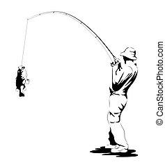 pez, gracioso, pescador