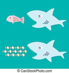 pez grande, comer, pez pequeño