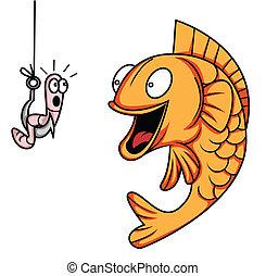 pez, gusano