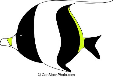 pez, ilustración, morisco, fondo., vector, blanco, ídolo