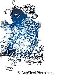 pez, koi, ilustración