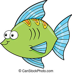 pez, lindo, océano, mentecato, vector