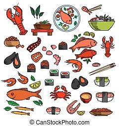 pez, mariscos, fiambrería, iconos
