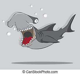 pez, martillo, caricatura, tiburón