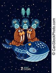 pez, morsa, ilustración, vector, pingüinos, tótem, salvaje, ...