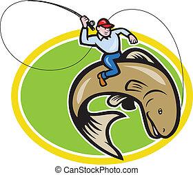 pez mosca, pescador, equitación, caricatura, trucha
