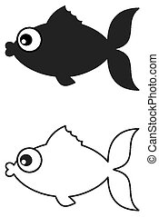 pez, negro, sombra