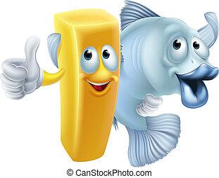 pez, pedacitos, caricatura
