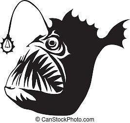 pez, pescador de caña