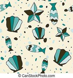 pez, plano de fondo, cockleshells, estrellas de mar