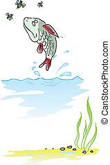 pez, saltar, afuera, de, agua