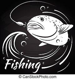 pez, saltar, afuera, de, agua, para quitar cosas, el, cebo