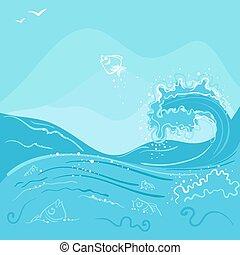 pez, saltar, afuera, de, el, onda océano