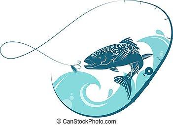 pez, saltar hacia dentro, el, estela, de, el, cebo