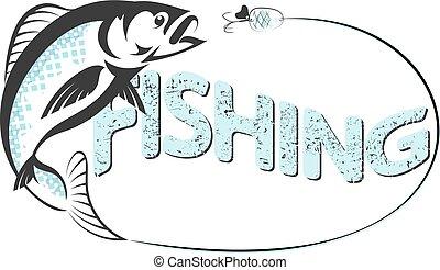 pez, saltar lejos, el, gancho, vector