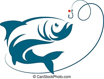 pez, saltar, para, cebo, gancho