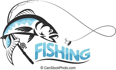 pez, saltar, para, cebo, silueta