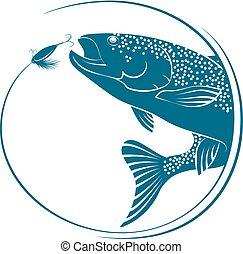 pez, saltar, para, cebo, vector