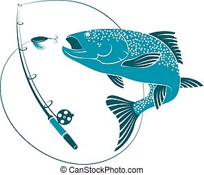 pez, saltar, para, cebo, y, pesca rod