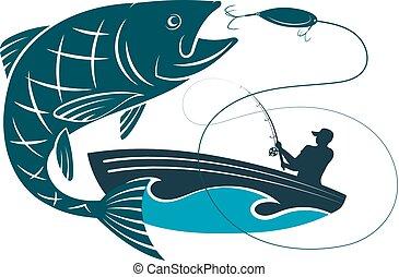 pez, saltar, para, cebo, y, un, pescador, en, un, barco