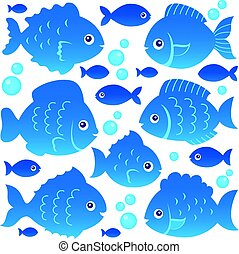 pez, siluetas, tema, conjunto, 2