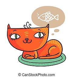 pez, soñar, rojo, gato
