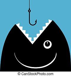 pez, tapa, a, golondrina, un, gancho