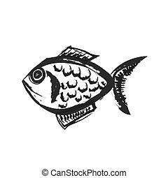 pez, vector, caricatura, ilustración