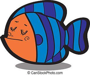pez, vector, caricatura